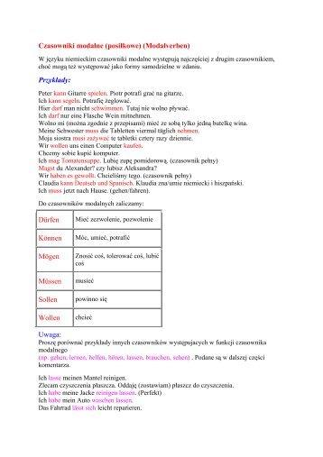 Czasowniki modalne \(posi³kowe\) \(Modalverben\) - SJO PWr
