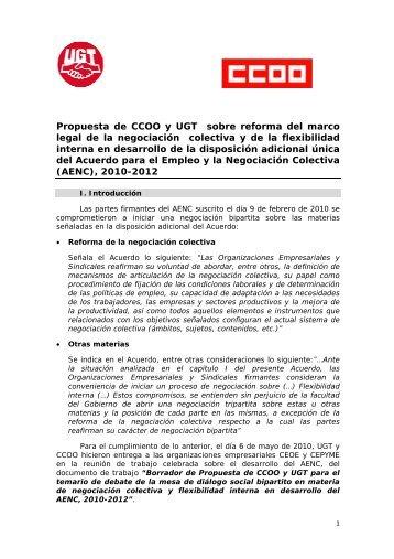 Propuesta Sindical Unitaria para la Reforma de la ... - CCOO