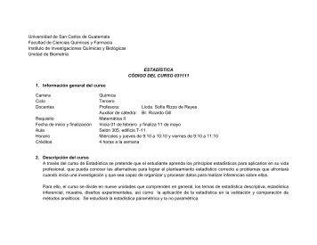 Programa Estadística Q, primer semestre 2012 - Usac