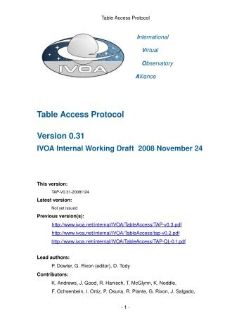 Table Access Protocol Version 0.31 IVOA Internal Working Draft ...