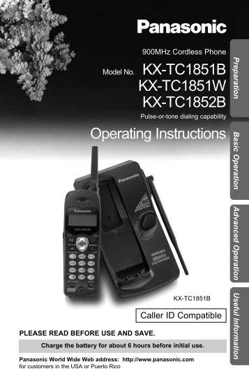 Panasonic KX-TC1851.PDF - Operating Manuals for Panasonic ...