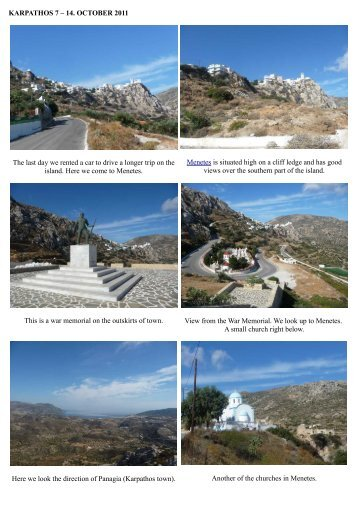 KARPATHOS 7 – 14. OCTOBER 2011 The last day we rented a car ...