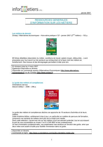 ressources generales d'information sur les metiers - Informetiers
