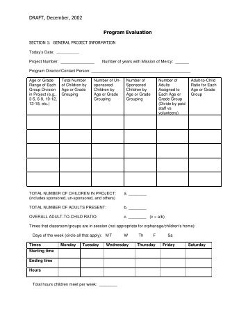 Program Evaluation Form - Prevette Research