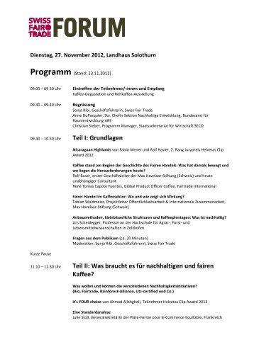Zum Programm - Swiss Fair Trade