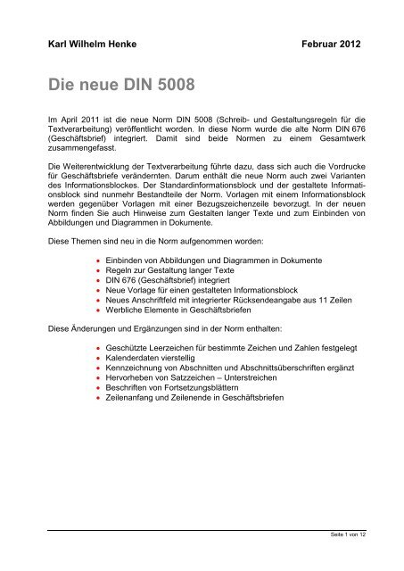 Karl Wilhelm Henke Die Neue Din 500