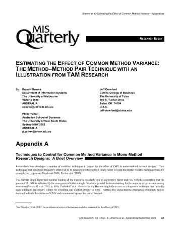 Estimating the Effect of Common Method Variance - MIS Quarterly