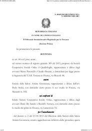 TAR Toscana sez. I 21/3/2013 n. 443. - Appalti e Contratti