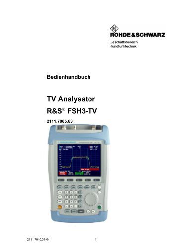 TV Analysator R&S® FSH3-TV - Rohde & Schwarz