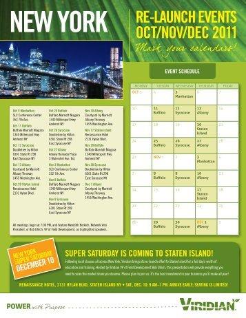 NEW YORK RE-LAUNCH EVENTS OCT/NOV/DEC 2011 - Viridian