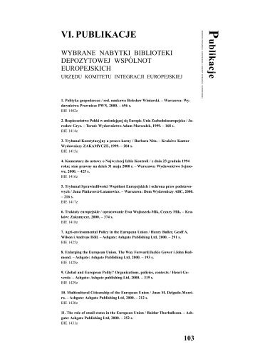 P ublikacje VI. PUBLIKACJE - Urząd Komitetu Integracji Europejskiej
