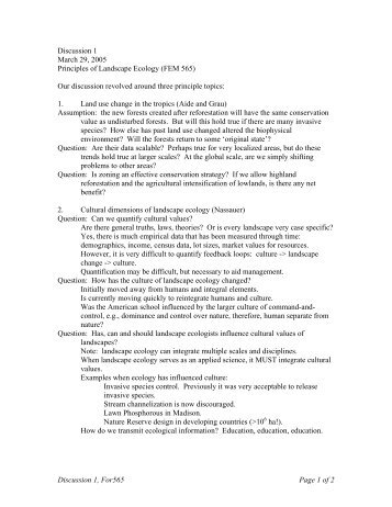 Notes - Forest Landscape Ecology Lab, University of Wisconsin ...