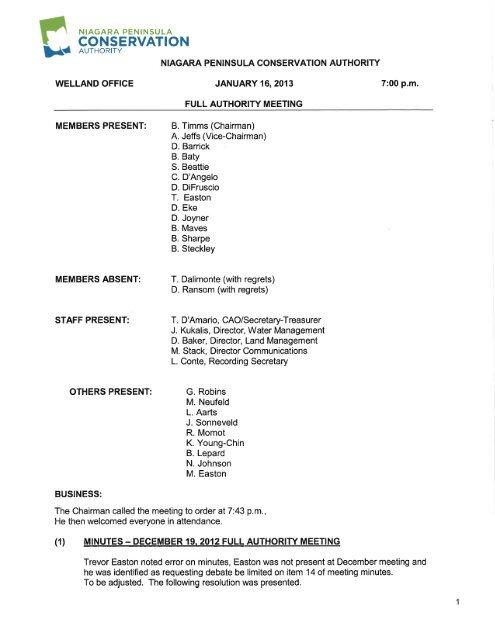 Meeting Minutes 16 Jan 2013 - Niagara Peninsula Conservation ...
