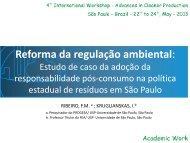 Reforma da regulação ambiental: - Advances In Cleaner Production