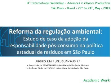 Reforma da regulação ambiental: - Advances In Cleaner Production