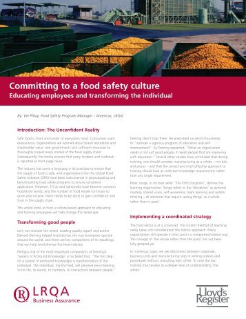 Whitepaper: Committing to a food safety culture - Workcast