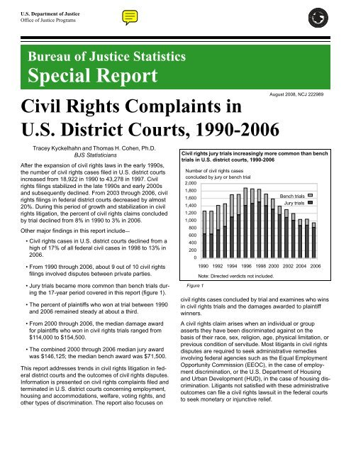 Civil Rights Complaints To Us >> Civil Rights Complaints In Us District Courts 1990 2006 Bureau Of