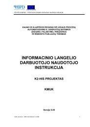informacinio langelio darbuotojo naudotojo instrukcija