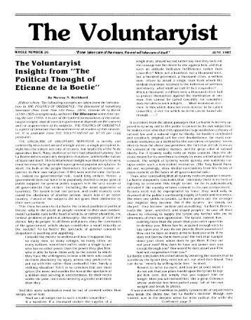 Issue 26 - The VOLUNTARYIST Newsletter