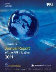 2011 PRI Annual Report - Principles for Responsible Investment