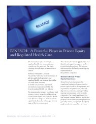 A Powerful Player in Private Equity and Regulated Health ... - Benesch