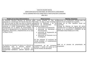 Cuadro de Actos Administrativos sometidos a Participación ...