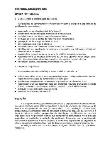 Programa das Disciplinas [PDF] - Vestibular UFSC/2010