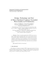 Design, Technology and Test of Micro-Machined Coplanar ... - IMT
