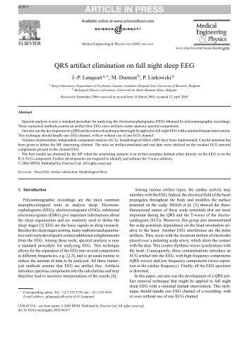 QRS artifact elimination on full night sleep EEG - Université de Mons