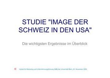 """STUDIE """"IMAGE DER SCHWEIZ IN DEN USA"""""""