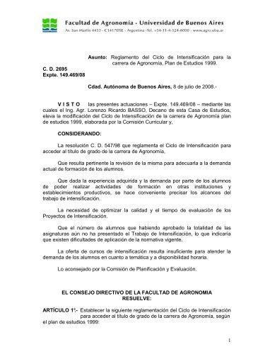 Reglamento del ciclo - Facultad de Agronomía - Universidad de ...