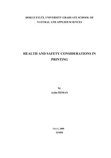 HEALTH AND SAFETY CONSIDERATIONS IN PRINTING