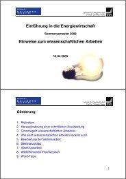 Hinweise zum wissenschaftlichen Arbeiten - Lehrstuhl für ...
