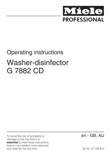Washer-disinfector G 7882 CD