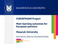 Learning outcomes for European partners - Tempus Corinthiam