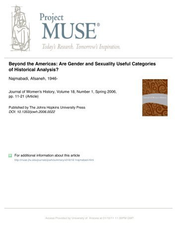 Are Gender and Sexuality Useful Categories of Historical Analysis?