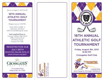 16th annual athletic golf tournament - Lancaster Catholic High School
