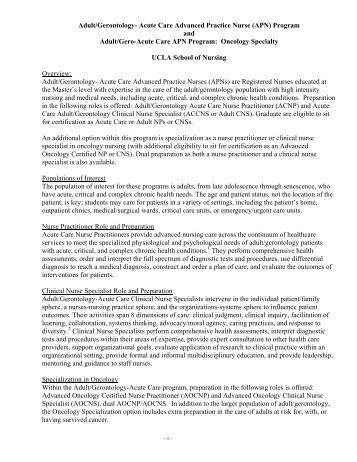 Adult/Gerontology- Acute Care Advanced Practice Nurse (APN ...