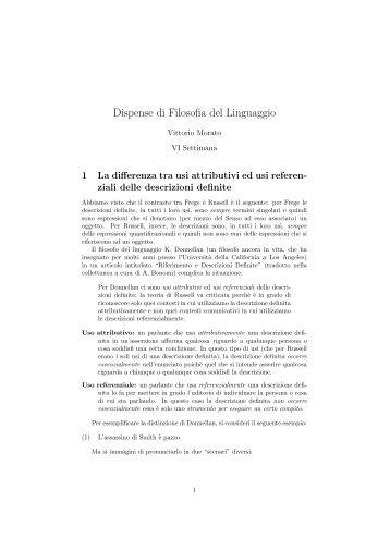Dispense della sesta settimana - Dipartimento di Filosofia