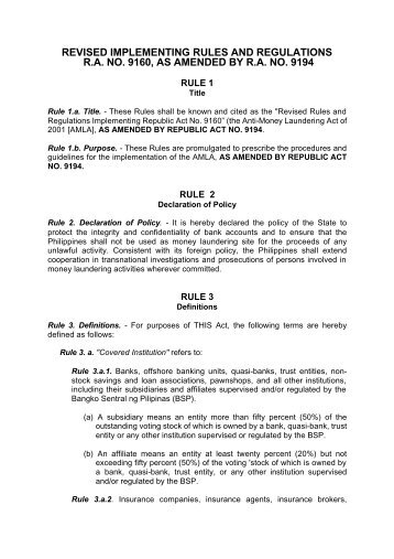 revised implementing rules and regulations ra no. 9160 - Planters ...