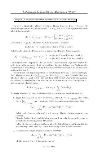 Boolesche Matrixmultiplikation und Transitive Hülle