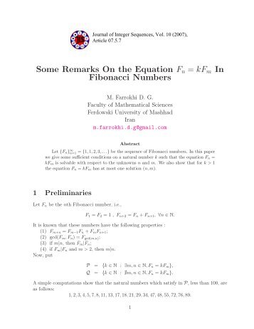 Some Remarks On the Equation Fn = kF Fibonacci Numbers