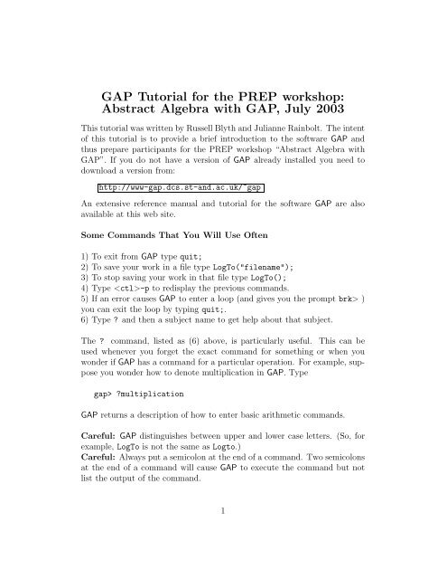 GAP Tutorial for the PREP workshop: Abstract Algebra with