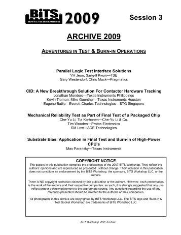 ARCHIVE 2009 - BiTS Workshop