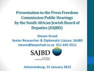 presentation to the PFC - South African Jewish Board of Deputies