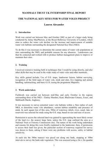 MAMMALS TRUST UK INTERNSHIP FINAL REPORT
