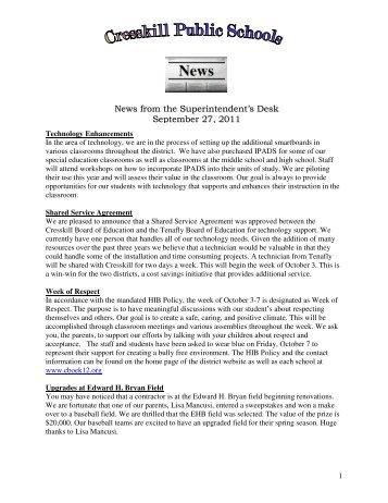 News from the Superintendent's Desk September 27, 2011