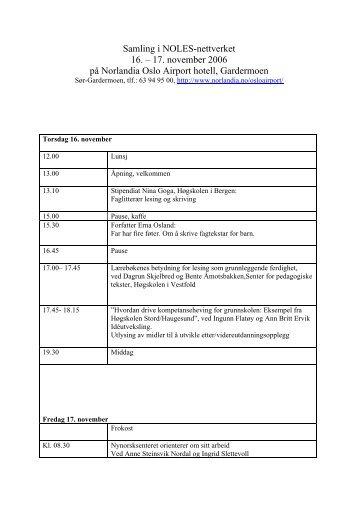 Samling i NOLES-nettverket 16. – 17. november ... - Lesesenteret