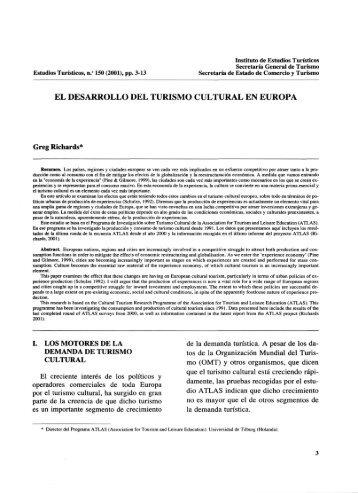 el desarrollo del turismo cultural en europa - Instituto de Estudios ...