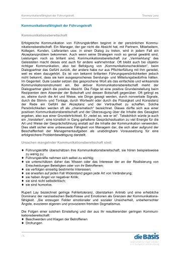 Thomas Lenz - Kommunikationsfähigkeit der Führungskraft - die Basis